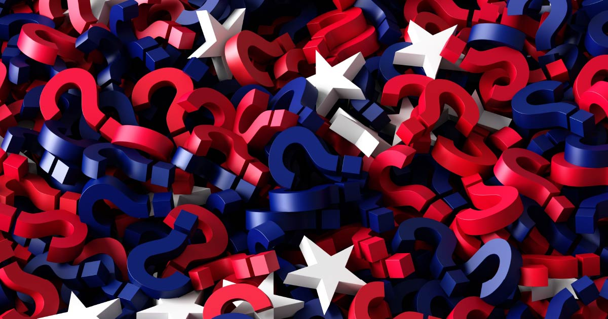 Red, white and blue stars and questions marks indicating uncertainty in stock markets after presidential elections.